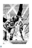 Batman: Black and White Image of Batman and Robin Running Along Top of Roof