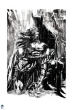 Batman: Black and White Image of Batman Crouching and Looking Down at the Ground