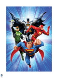 Justice League: Superman with Flash  Green Lantern  Batman with Blue Background