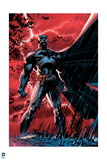 Batman: Batman Standing Heroically Against a Red Sky in the Rain
