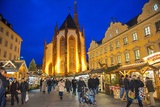 Christmas Market at Twilight  Marienkapelle  Wurzburg  Germany