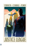 Justice League: Justice League Vintage Style Poster with Superman  Green Lantern  and Batman