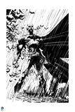 Batman: Batman Standing Heroically in the Rain - in Black and White