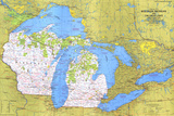 1973 Close-up USA  Wisconsin  Michigan  and the Great Lakes Map