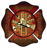 Firefighters Maltese Cross Wood Sign