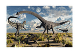 A Deadly Confrontation Between a Diplodocus and a Pair of Allosaurus