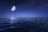 Tranquil Seas Against Rising Moon in a Starry Sky  Crete  Greece