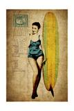 Pinup Girl Surfing Giclée par GI ArtLab