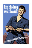 World War II Propaganda Poster Featuring a Man Tightening His Belt
