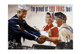 World War II Poster of a Sailor Shaking Hands with Factory Workers