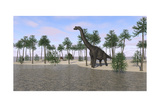 Large Brachiosaurus Standing at the Water's Edge