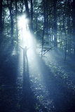 Silhouette of a Man Standing in the Misty Rays of a Dark Forest  Denmark