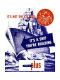 World War II Propaganda Poster Featuring a Battleship Out a Sea