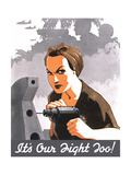 World War II Propaganda Poster of Rosie the Riveter Operating a Drill