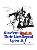 World War II Propaganda Poster of Two Soldiers Firing a Heavy Machine Gun
