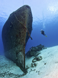 Diver Exploring the Felipe XicotNcatl Shipwreck in Cozumel  Mexico