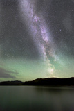 Aurora Borealis and Milky Way Above Fish Lake  Yukon  Canada