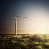 Wind Turbine in a Field in the Evening  Sardinia  Italy