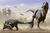 An Euoplocephalus Hits T-Rex's Foot by its Mace Like Tail in Self-Defense
