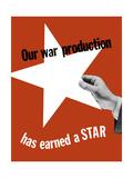 World War II Propaganda Poster of a Hand Holding a Large White Star