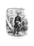 Vintage Civil War Print of General George Mcclellan at Camp Seminary