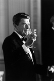 Digitally Restored Photo of President Ronald Reagan Making a Toast