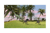 A Dilophosaurus Chasing Two Gigantoraptors across a Grassy Field