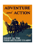 World War One Propaganda Poster of Soldiers Pulling Artillery with Horses