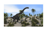 Large Brachiosaurus in a Tropical Environment