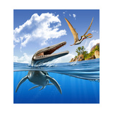 A Plesiopleurodon Jumps Out of the Water  Attacking an Ornithocheirus