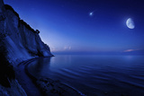 Moon Rising over Tranquil Sea and Mons Klint Cliffs  Denmark
