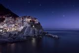 View of Manarola on a Starry Night  La Spezia  Liguria  Northern Italy