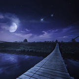 A Bridge across the River at Night Against Starry Sky  Russia