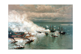 Vintage American Civil War Print of the Battle of Mobile Bay