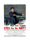 Vintage World War I Propaganda Poster Featuring a Blindfolded Ship Captain
