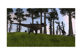 Tyrannosaurus Rex Confronts a Large Brachiosaurus