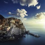 View of Manarola on the Rocks at Sunset  La Spezia  Liguria  Northern Italy