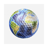 3D Rendering of a Planet Earth Golf Ball  White Background