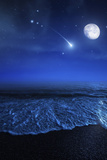 Tranquil Ocean at Night Against Starry Sky  Moon and Falling Meteorite