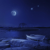 A Boat Moored Near an Icy Stone in a Lake Against Starry Sky  Finland