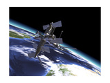 Mir Russian Space Station in Orbit over Earth