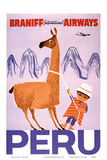 Peru - Braniff International Airways - Native Boy with Llama Reproduction d'art