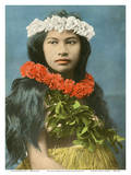 Beautiful Hawaiian Girl with Flower Leis