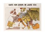 Satirical Map - Karte Von Europa Im Jahre 1914
