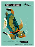 Pacific Islands - Qantas Airways - Green Sea Turtle Reproduction d'art par Harry Rogers