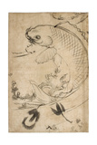 Jumping Carp Sumi Underdrawing on Paper