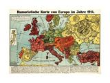 Satirical Map - Humoristische Karte Von Europa Im Jahre 1914 Reproduction d'art par K. Lehmann-Dumont