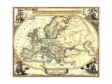 Nautical Map of Europe Reproduction d'art par Vision Studio