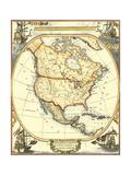 Nautical Map of North America Reproduction d'art par Vision Studio