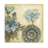 Blue and Taupe Blooms I
